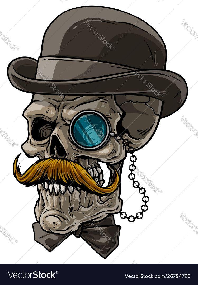 Cartoon Gentleman Skull With Black Hat And Monocle Affiliate Skull Gentleman Cartoon Monocle Ad In 2020 Skull Drawing Sugar Skull Drawing Skeleton Art