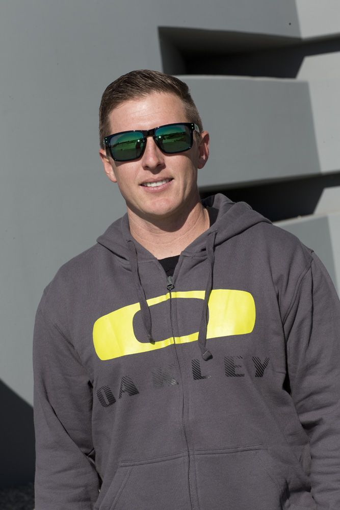 Casey Currie at Oakley HQ wearing the exclsuive Jade Iridium Polar lenses  in Holbrook.