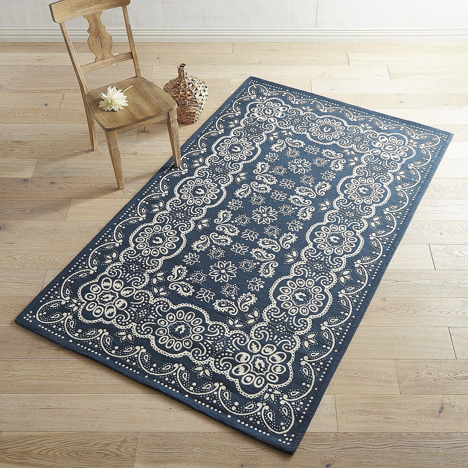 """Navy Paisley Rug: Shop For A Bandana Blue 5x7'6"""" Rug And Other Category>Rugs"""