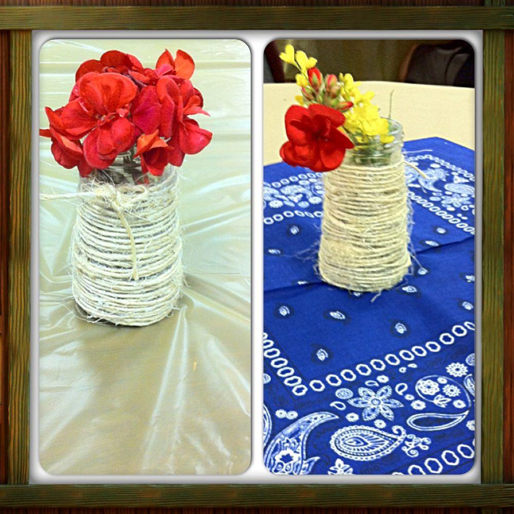Western theme chili cook off decor bandanas glass jars