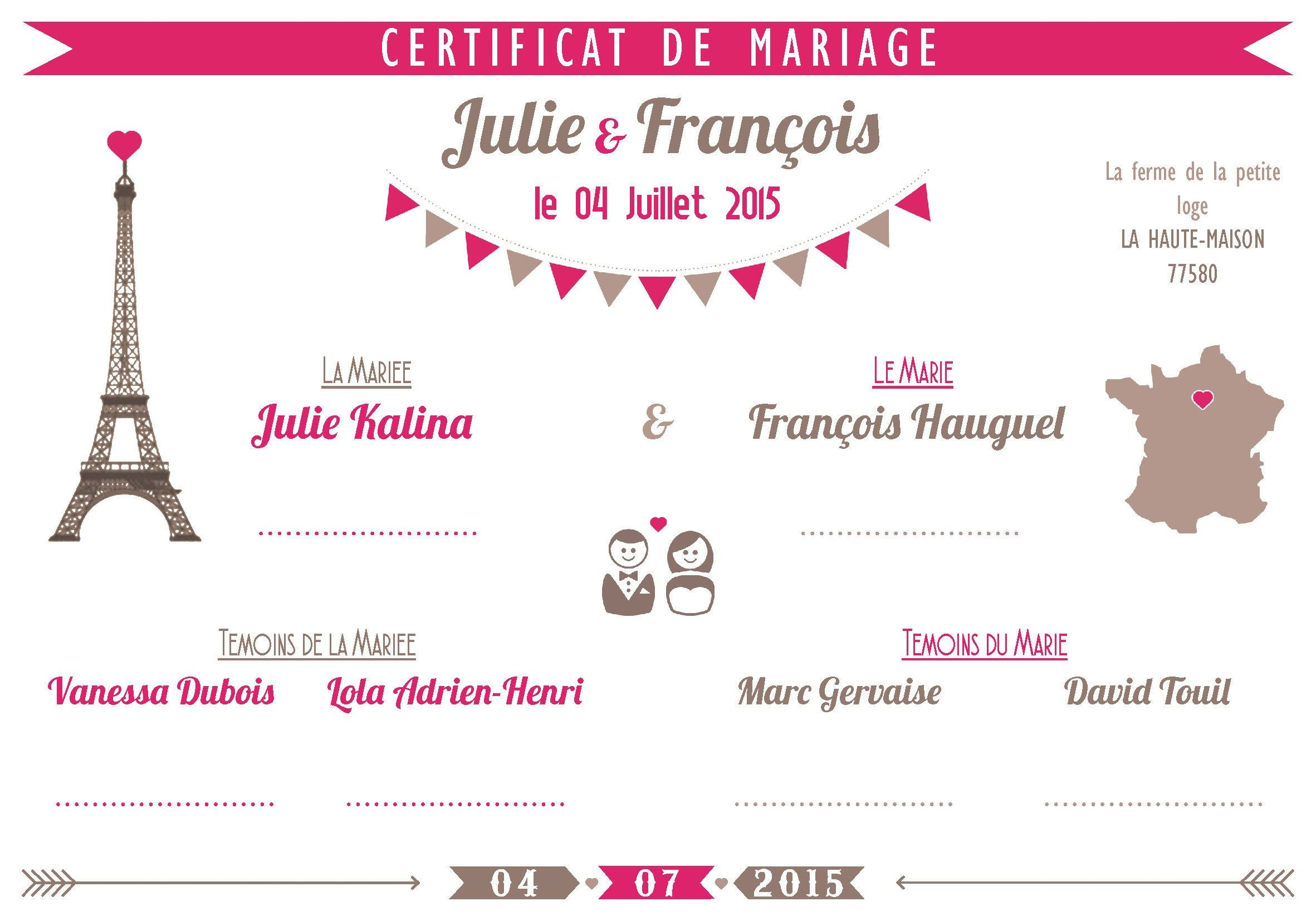 Certificat mariage cérémonie laïque (avec images ...
