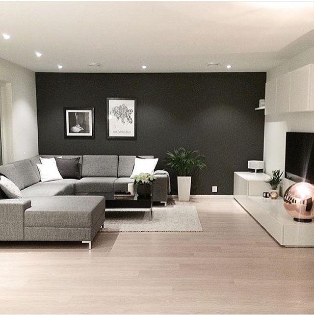 Séjour contemporain taupe, gris, blanc, noir... | Living Room ...