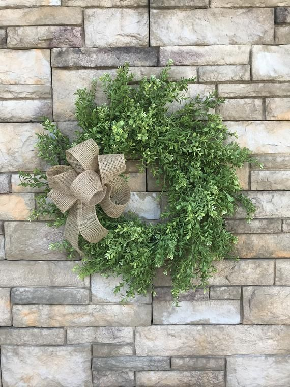 Large Faux Farmhouse Boxwood Green Wreath-Farmhouse Front Door Wreath Year-round Green Wreath... Large Faux Farmhouse Boxwood Green Wreath-Farmhouse Front Door Wreath Year-round Green Wreath-Buffalo Plaid Burlap Bow Boxwood Wreath,