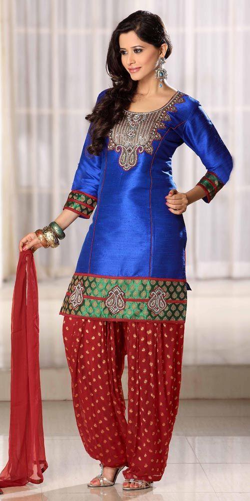 1f2220a2d2 Deep Blue Sleeve Art Silk Punjabi Salwar Kameez 9284 loving the bottom part.