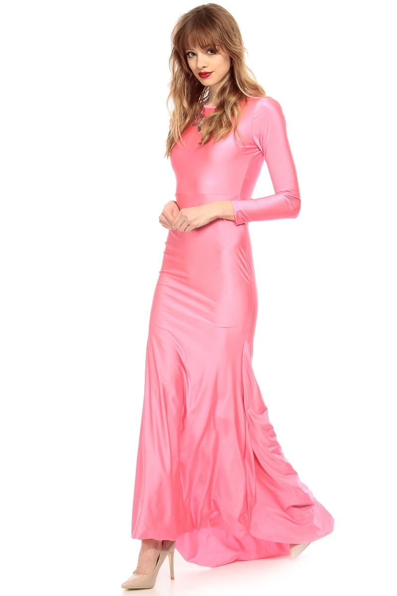 Neon Pink High Low Mermaid Long Sleeve Maxi Dress Dresses