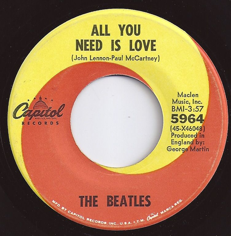 All You Need Is Love Beatles 1 On Billboard 1967 45