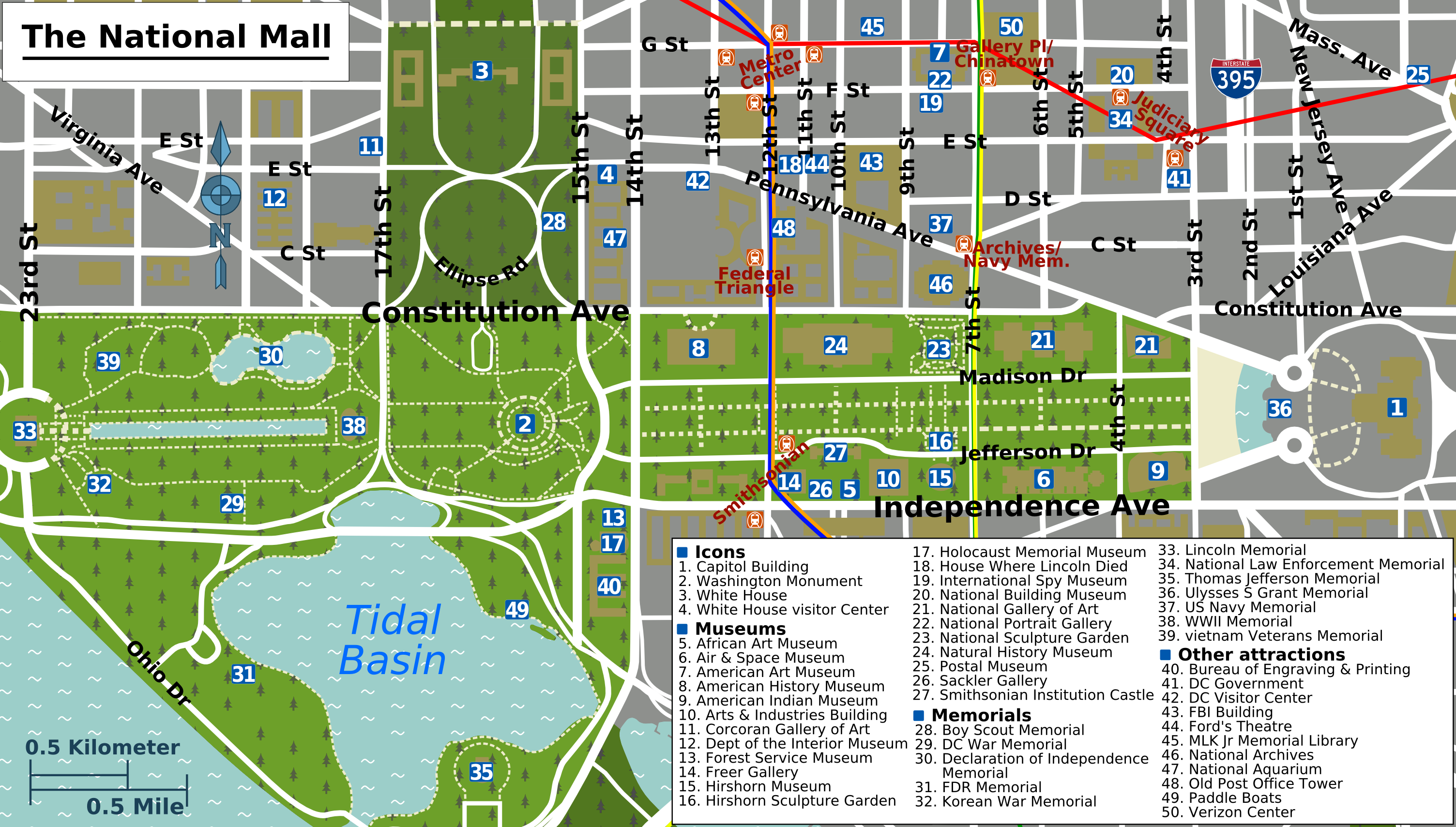 Printable Map Washington DC | National Mall Map - Washington DC ...