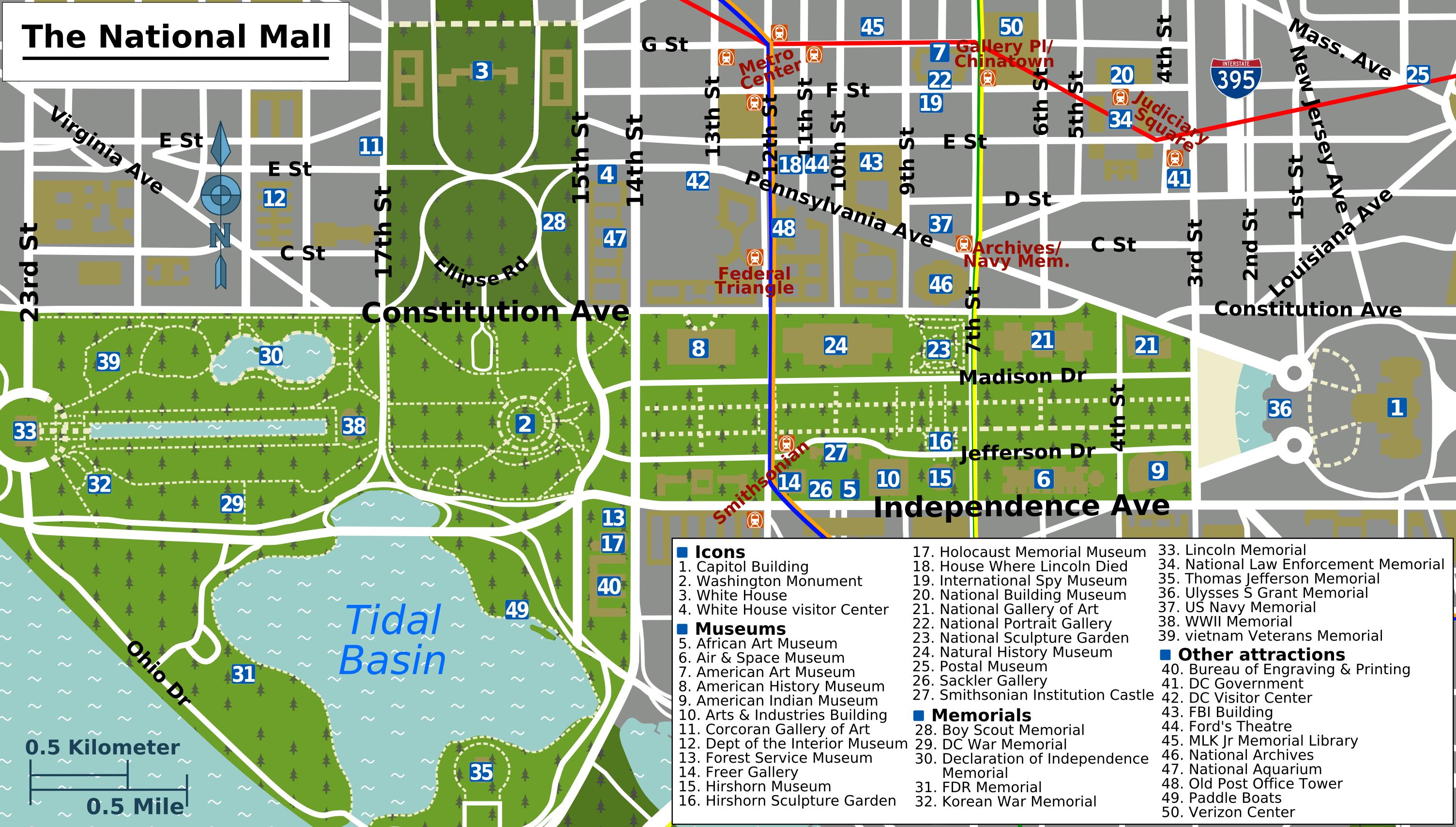 Printable Map Washington Dc