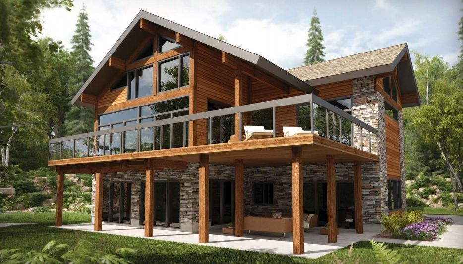 Resultado De Imagem Para Modele Chalet Contemporain Casas Modulares Home Imocasapronta Com E Madeira Cr Dito 1 Architecture House House Styles Lake House Plans