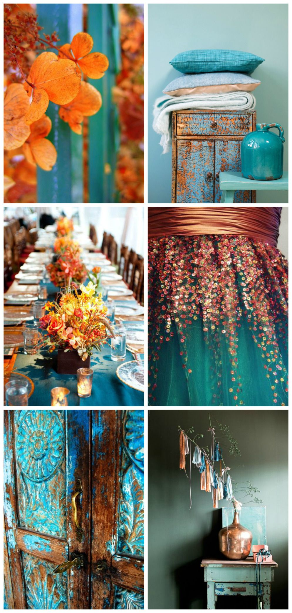 Orange And Aqua: Teal Wedding Colors