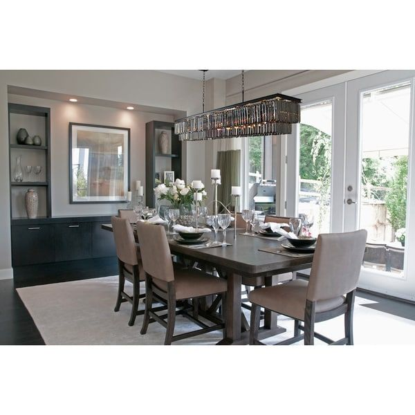 Dining Room With Chandelier Interesting D'angelo 60Inch Smoked Glass Rectangular Crystal Fringe Inspiration