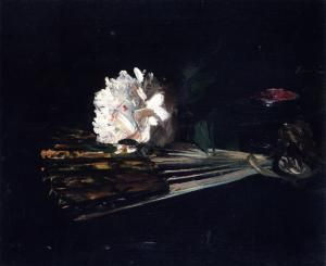 Still Life with a Fan and a Carnation  George Leslie Hunter