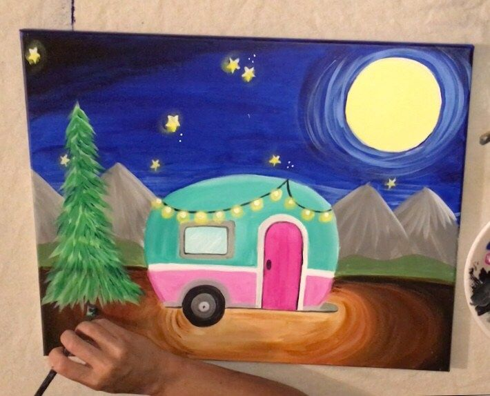 Vintage Camper Canvas Painting - Online Tutorial images