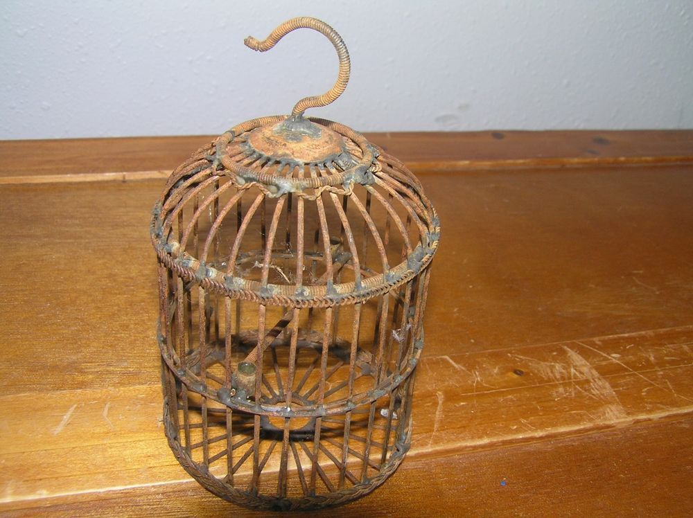 Vintage Reproduction Miniature Recycled Rusty Metal Birdcage Tree Ornament  -