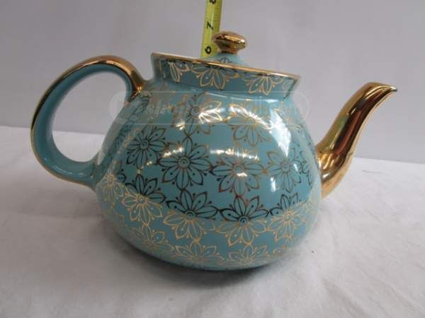 Hall 12 Cup Tea Pot Made In Usa Blue W Gold Color Tea Pots Tea My Cup Of Tea