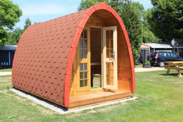Pod , cabane insolite pour hébergement sur camping avec shingle