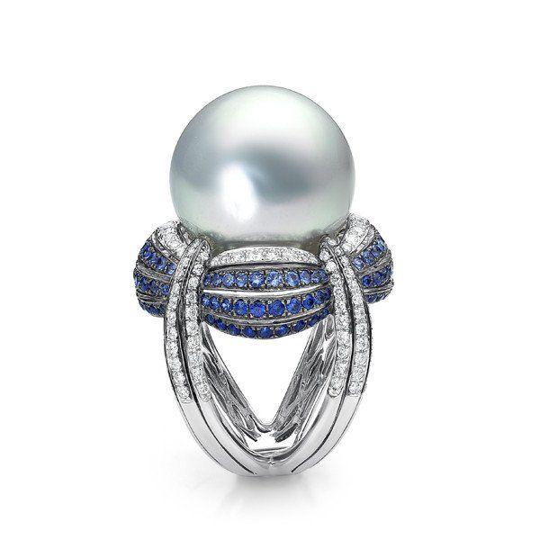 Indigo Ring - White South Sea Pearl, sapphire and diamond ring – BELPEARL : A PEARL LEGACY | AKOYA, SOUTH SEA, TAHITIAN, KASUMIGA PEARLS |