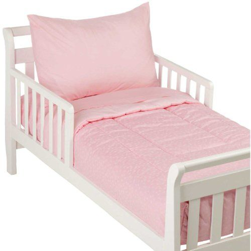 4 Piece Toddler Bedding Set Pink Stars Solid By American