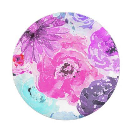 Funky Bold Floral Flowers Pink Purple Chic Paper Plate - chic gifts diy elegant gift ideas  sc 1 st  Pinterest & Vivid Violet Bold Floral Flowers Pink Purple Chic Paper Plate ...