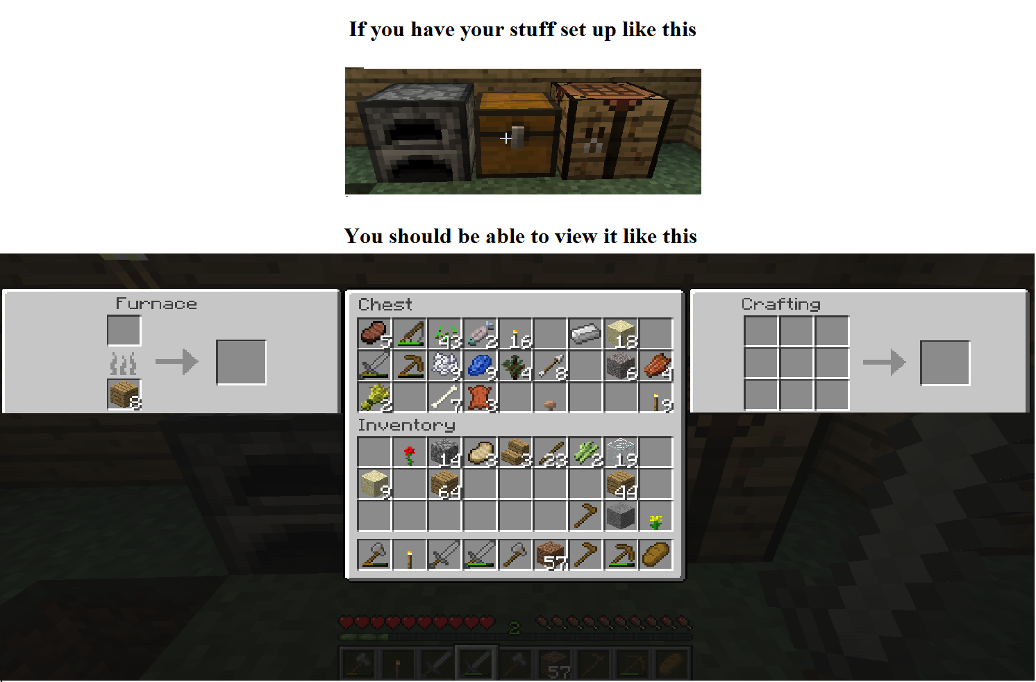 Minecraft Inventory Menu Chest Furnace Crafting Table Craft Table Furnace Crafts