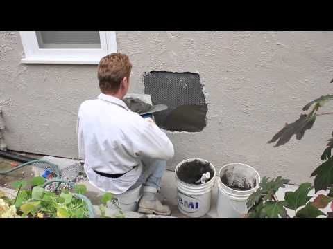 Repair a hole in a stucco wall caused by plumbing repairs - YouTube