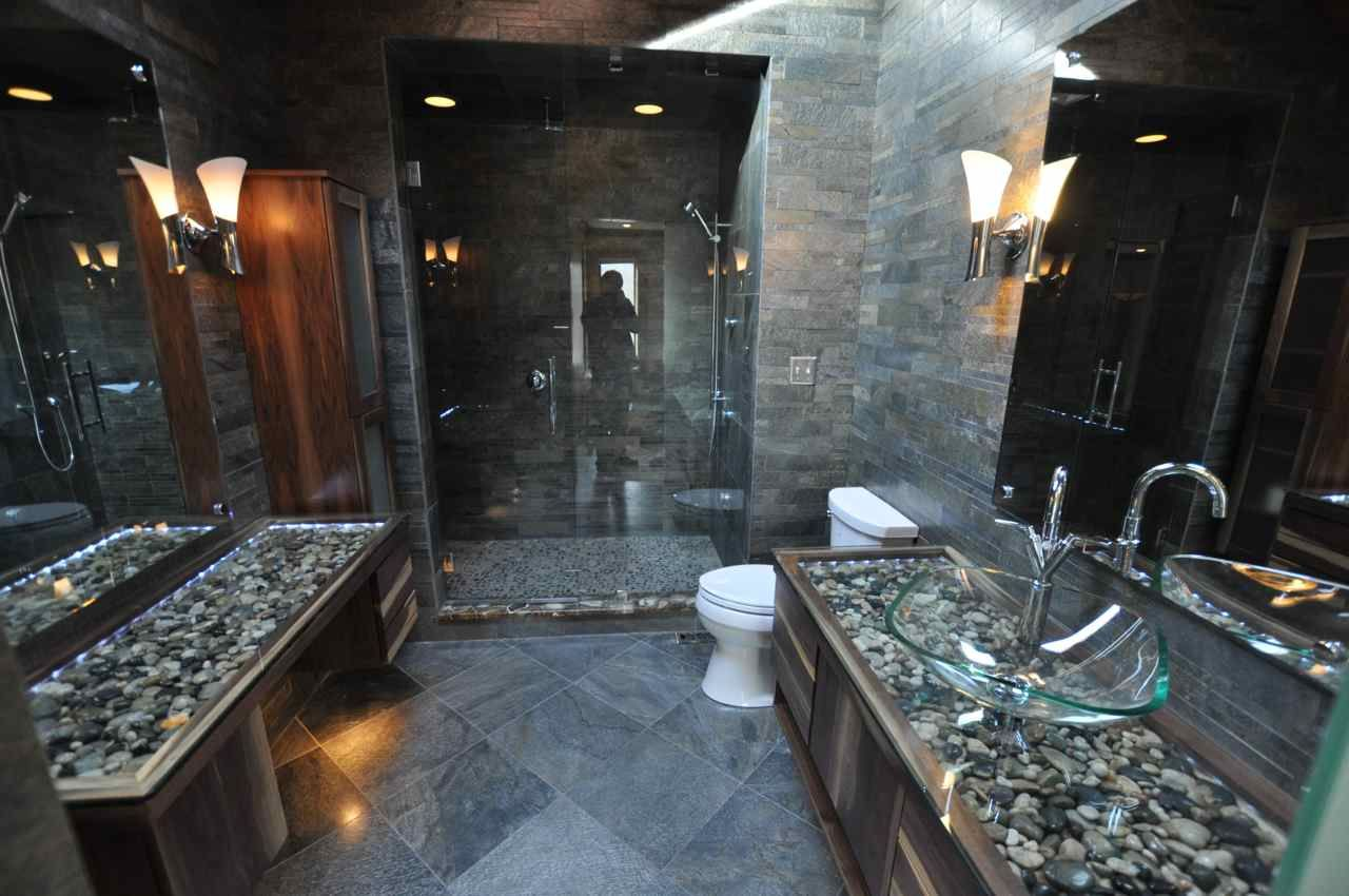 Beautiful bathroom vanity idea... River rock covered with ... on natural rock art, natural rock paint, natural rock patio designs, natural rock architecture, natural rock bathtub, natural rock fire pit designs, stacked rock bathroom designs, natural rock sinks, natural rock decor,