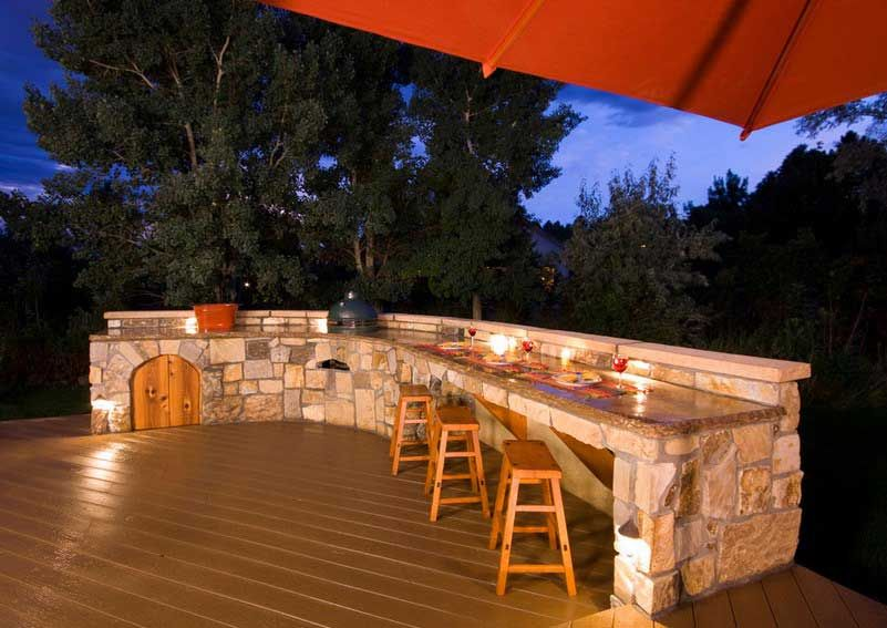 build outdoor kitchen on wooden decks design ideas with stone outdoor kitchen conter and light walnut