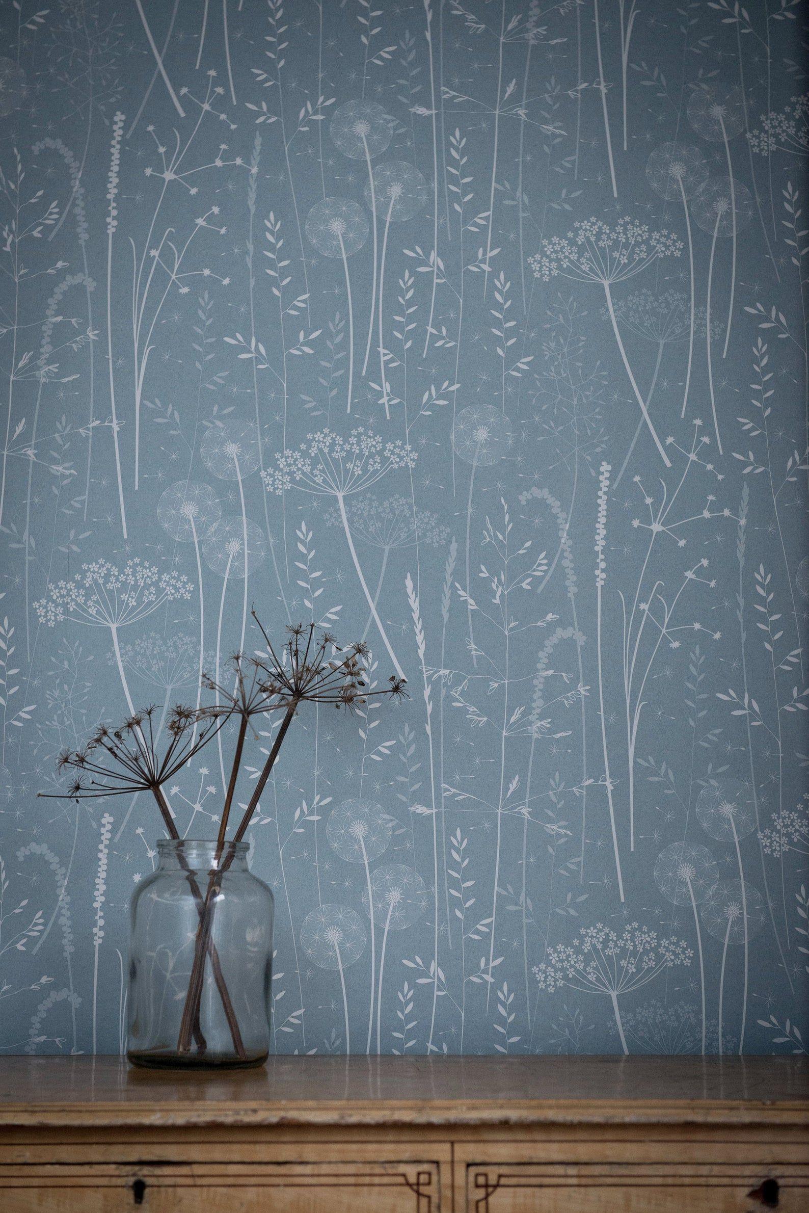 Blue Teal Floral Botanical Tonal Dandelion Woodland Nature