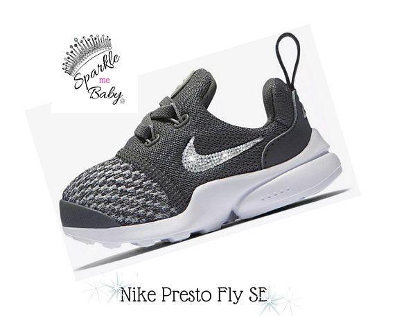 Nike Presto Fly SE - Toddler - Gray - Walker - Bling - Sparkle - AB Crystal  - Clear Crystal - Pink AB Crystal ~ SparkleMeBaby2u -  Nike  nikegirl   blingnike ... e875826a9d88