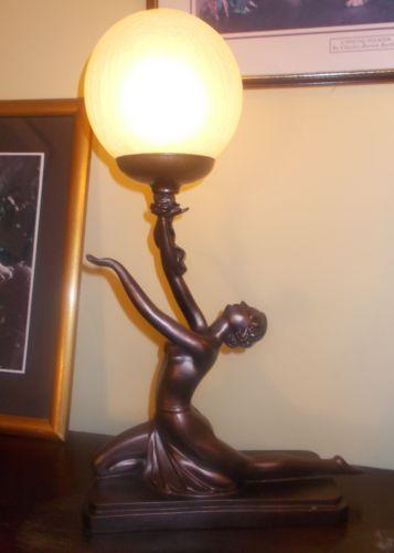Art deco lamp bronze naked nude glass globe