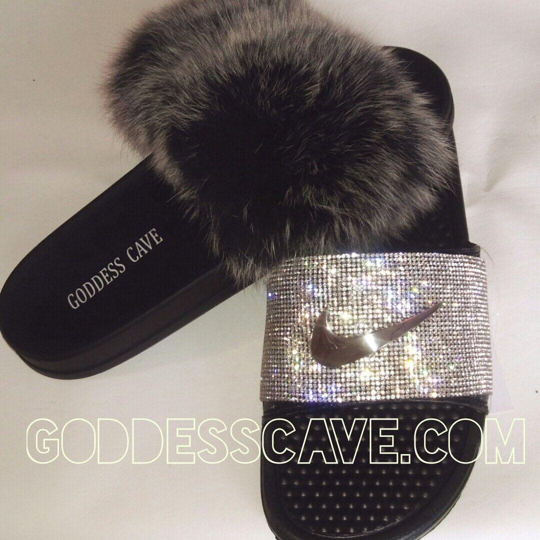 fd6f2b108710 Fur Goddess Slide   Custom Sparkle Nike Slide get yours at  www.GoddessCave.com