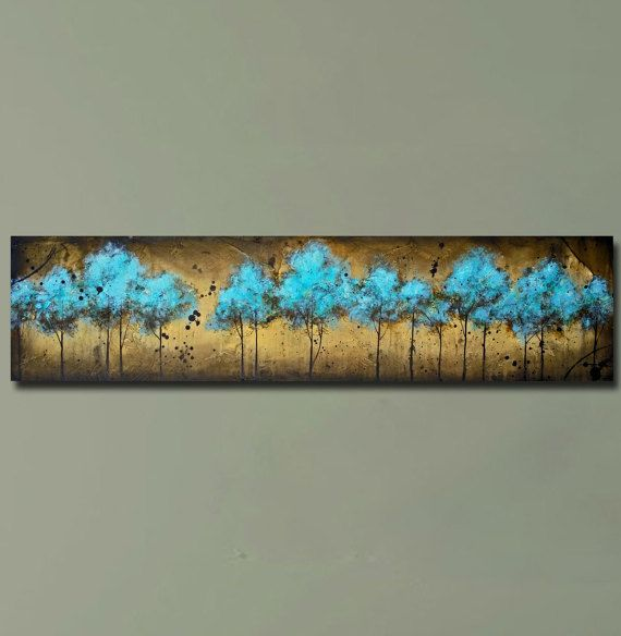 sofa art long horizontal blue tree painting textured painting into the forest 12x48 by britt. Black Bedroom Furniture Sets. Home Design Ideas