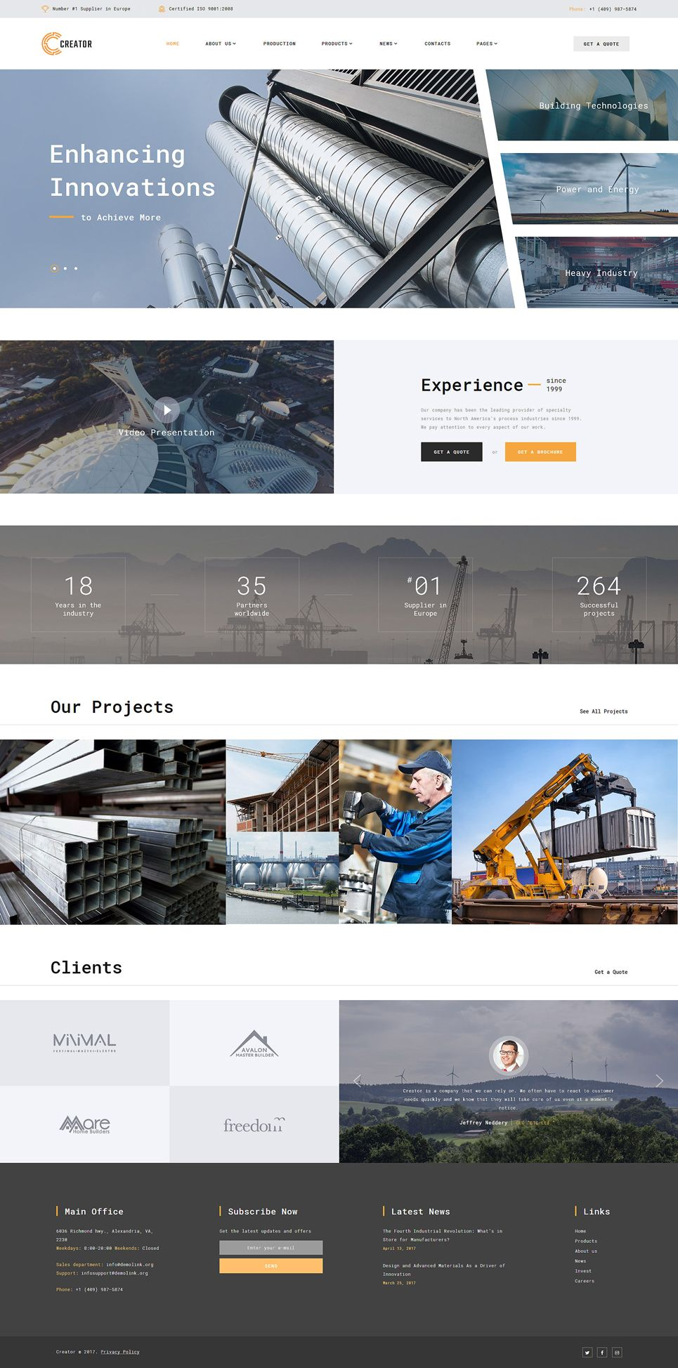 Creator - Civil Engineering Multipage Website Template | Bootstrap ...