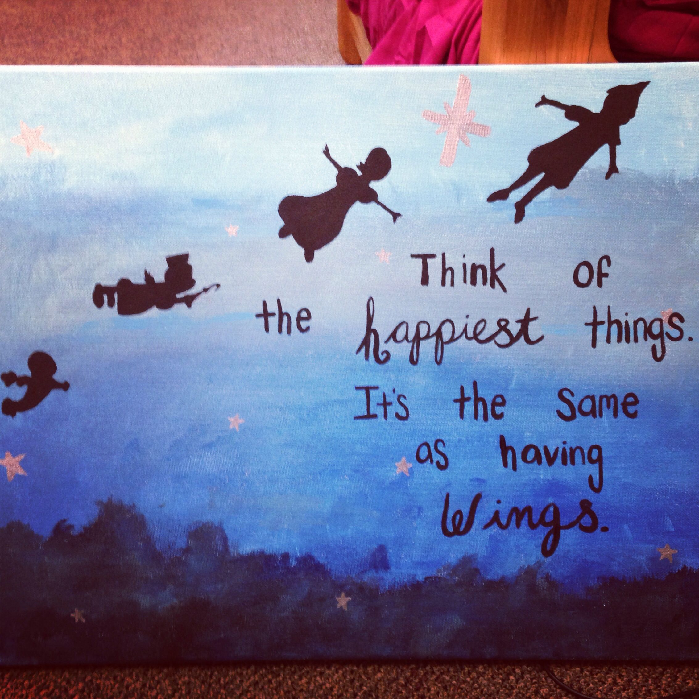 9696a9c7f695 Peter Pan quote and canvas painting  diy  peterpan  painting ...