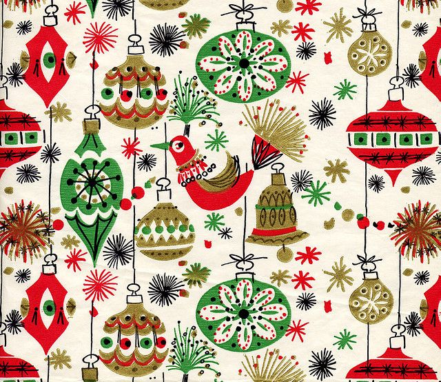 Birds Baubles Vintage Christmas Wrapping Paper Vintage
