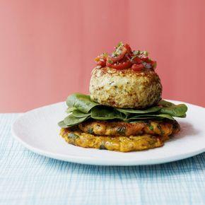 Turkey Burgers On Sweet Potato Fritters   Dinner Recipes ...
