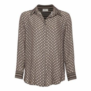 Mela Purdie - Classic Splice Shirt - Lattice Print Splice Every wardrobe needs a classic shirt with a twist. Cut in a classic loose fitting way this style features contrast print on the collar, band cuff's. Wear with skinny jeans or soft woven pants for a fresh transitional look.