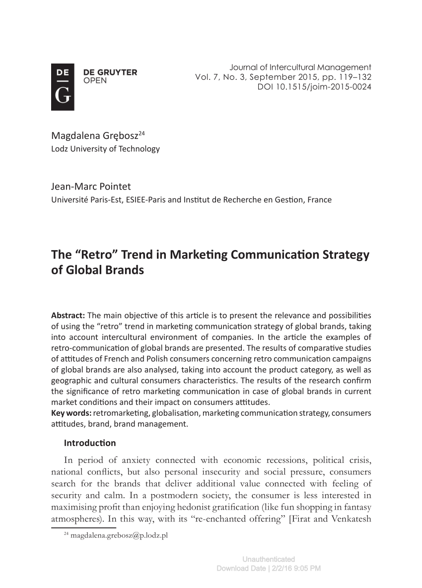 The Retro Trend In Marketing Communication Strategy Of Global