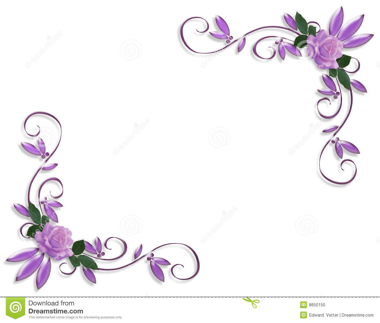 Purple roses corner border designs | Wedding Invitation ...