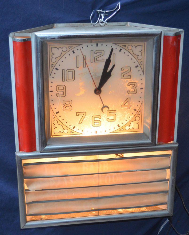 Vintage Art Deco Diner Advertising Clock Menu Area