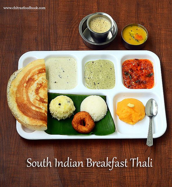 Indian Wedding Reception Food Menu: South Indian Breakfast Thali