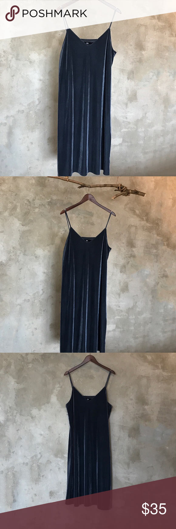 Uniqlo velvet slip dress in blue nwt my posh picks pinterest