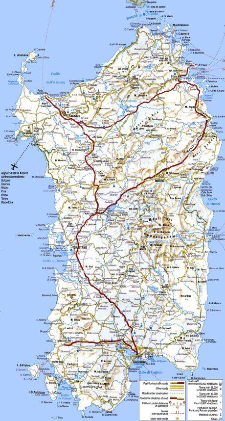 Carte Italie Et Sardaigne.Carte Routiere De La Sardaigne Mediteran En 2019 Italy Vacation