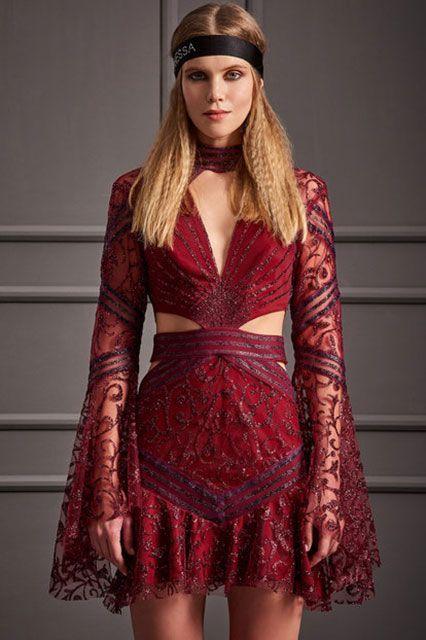 2018 Gece Elbiseleri Kirmizi Kisa V Yakali Uzun Kollu Dantelli Raisa In 2020 Red Evening Dress Dresses Evening Dresses