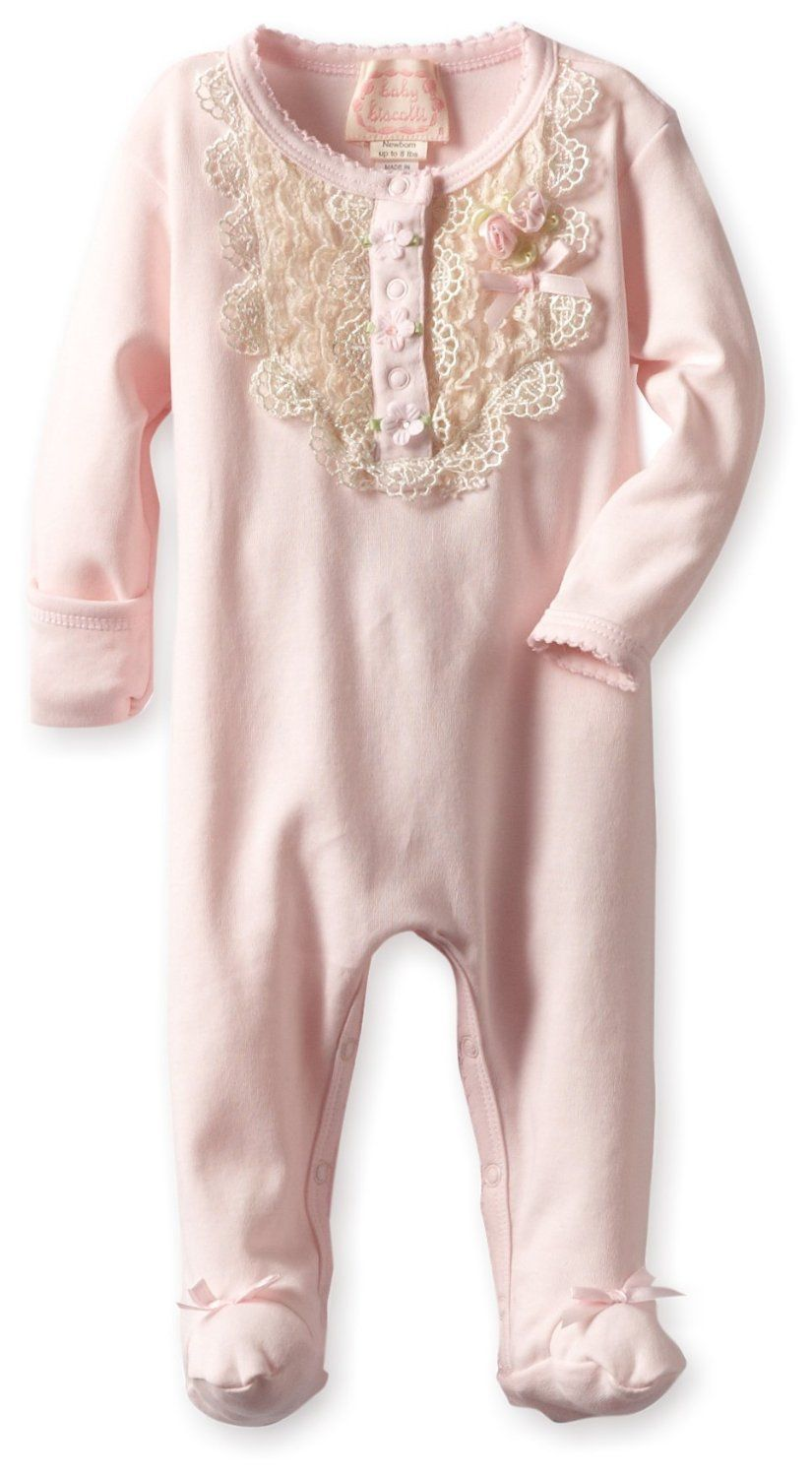 57e7840a2 Amazon.com  Biscotti Baby-Girls Newborn Lace Lullaby Long Sleeve ...