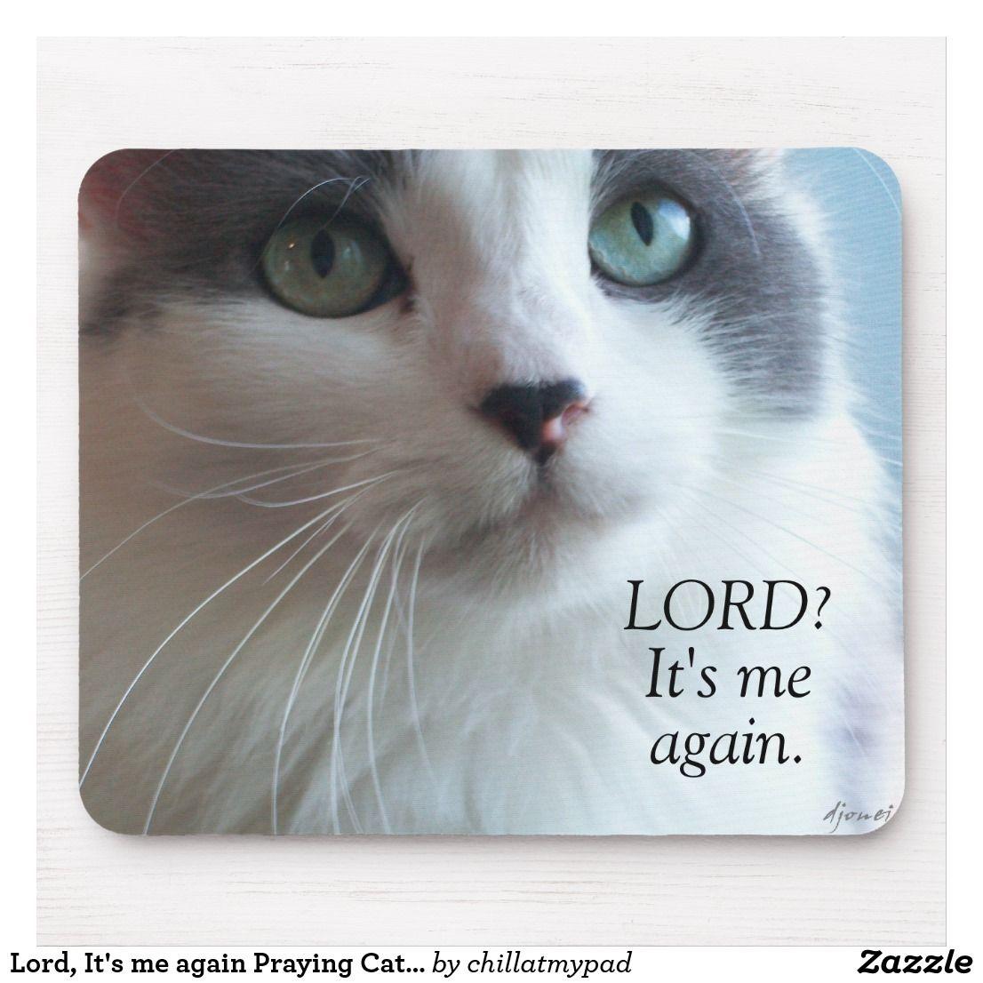 Lord, It's me again Praying Cat Meme Mouse Pad Zazzle