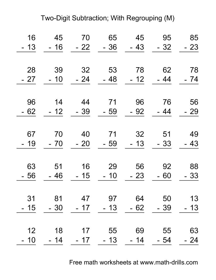 hight resolution of two digit subtraction worksheet   two digit subtraction with some  regrouping 49 questio…   2nd grade math worksheets