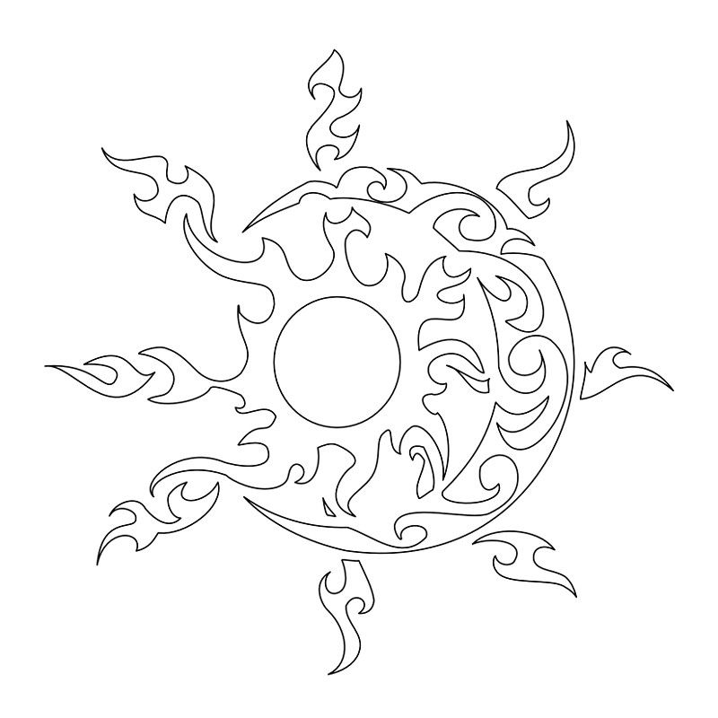 Tattoo Stencils Printable Moon: Tribal Sunmoon Stenciljpg