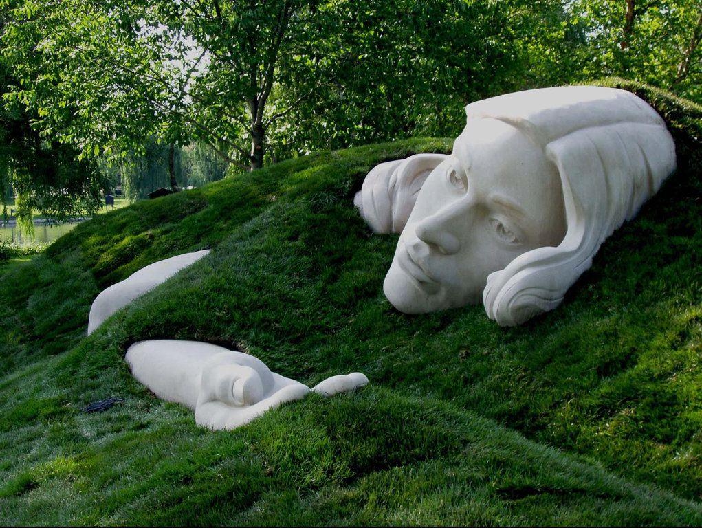Earthworks and Indiana Limestone sculpture, Awakening Muse ...