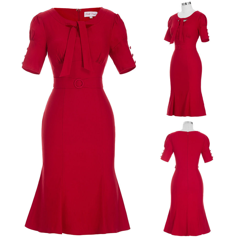 a0a5797dc0a Red Womens Vintage 1940 s 1950 s Bodycon Pencil Dresses Wiggle Dresses  Cocktail